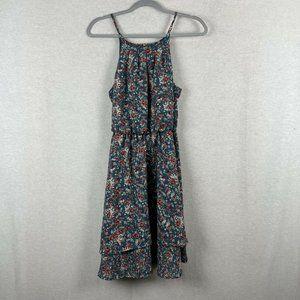 blue rain teal ditzy floral dress size medium